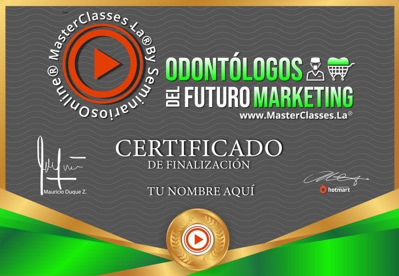 Certificado de Odontólogos del Futuro Marketing