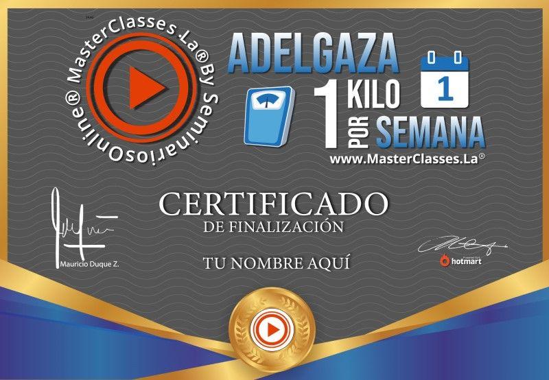 Certificado de Adelgaza 1 Kilo por Semana