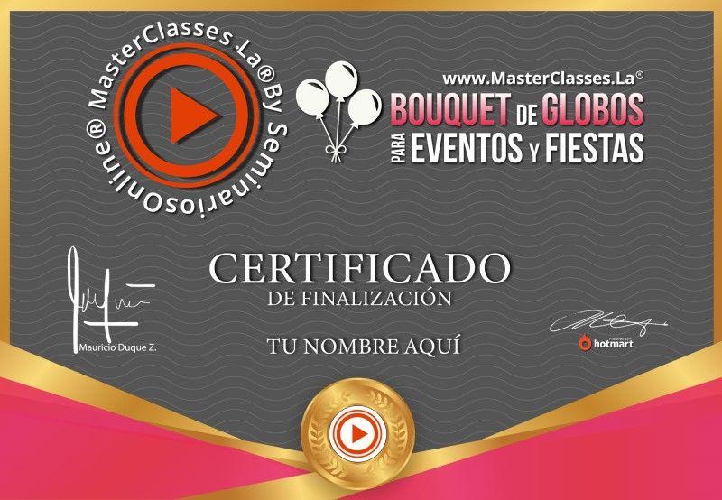 Certificado de Bouquet de Globos para Eventos y Fiestas