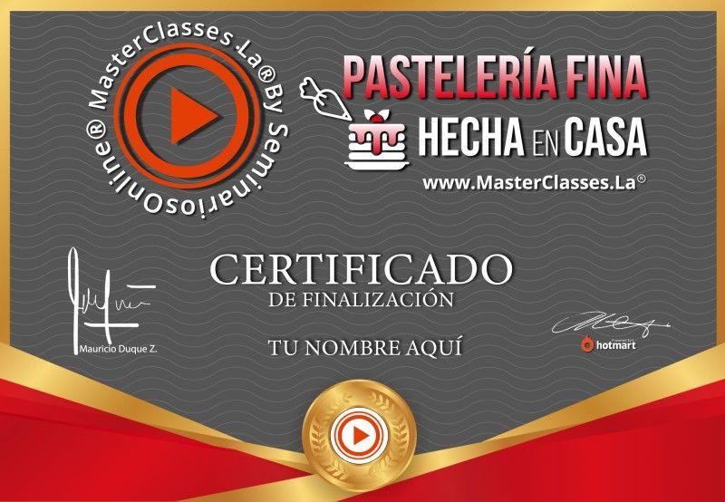 Certificado de Pastelería Fina Hecha en Casa