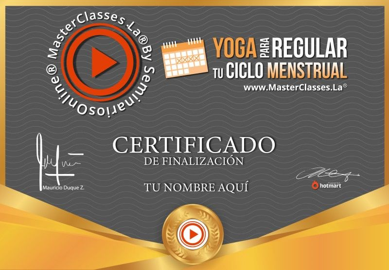 Certificado de Yoga para Regular tu Ciclo Menstrual