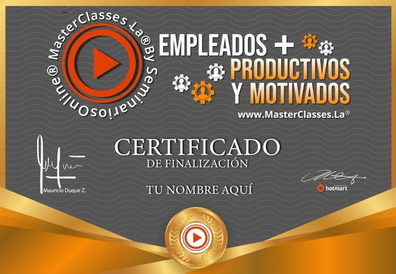 Certificado de Empleados más Productivos y Motivados