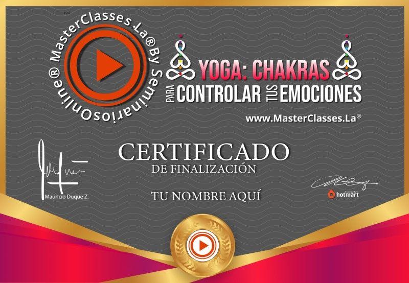 Certificado de Yoga - Chakras para Controlar tus Emociones