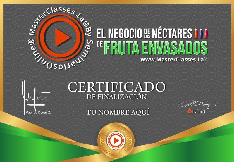 Certificado de El Negocio de los Néctares de Fruta Envasados