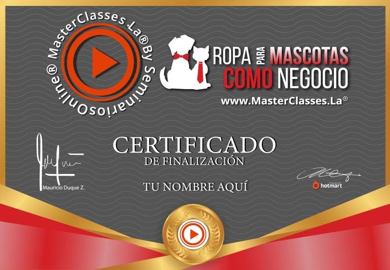 Certificado de Ropa para Mascotas como Negocio