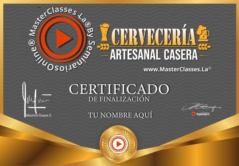 Certificado de Cervecería Artesanal Casera