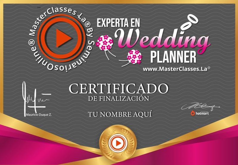 Certificado de Experta en Wedding Planner