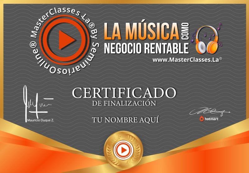 Certificado de La Música Como Negocio Rentable