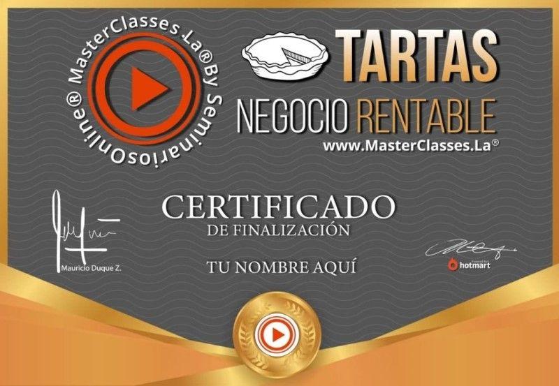 Certificado de Tartas Negocio Rentable