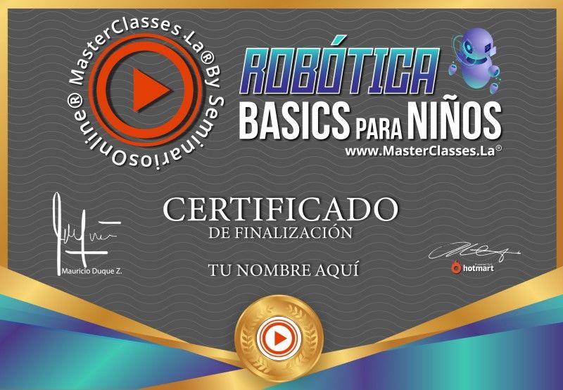 Certificado de Robótica Basics para Niños