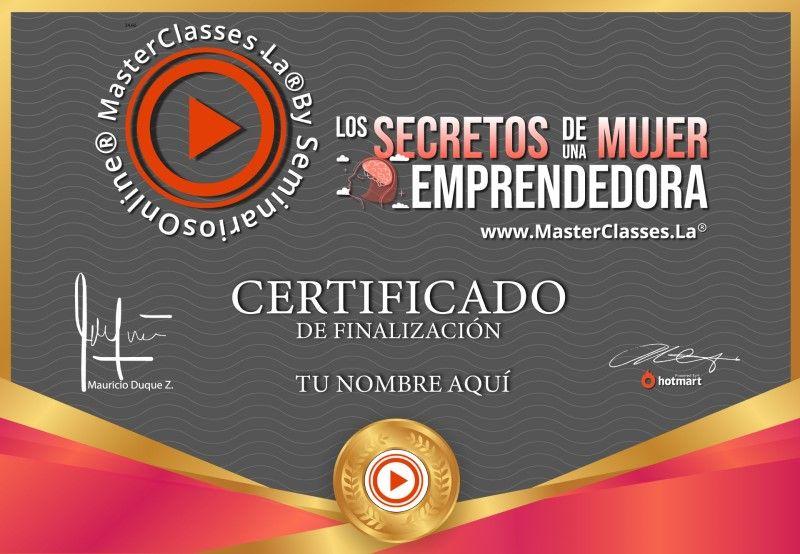 Certificado de Los Secretos de una Mujer Emprendedora