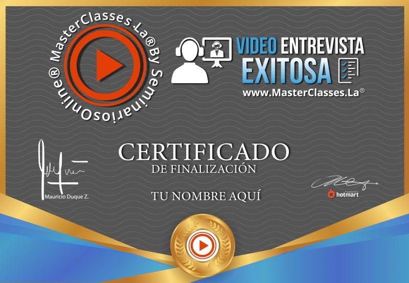 Certificado de Video Entrevista Exitosa