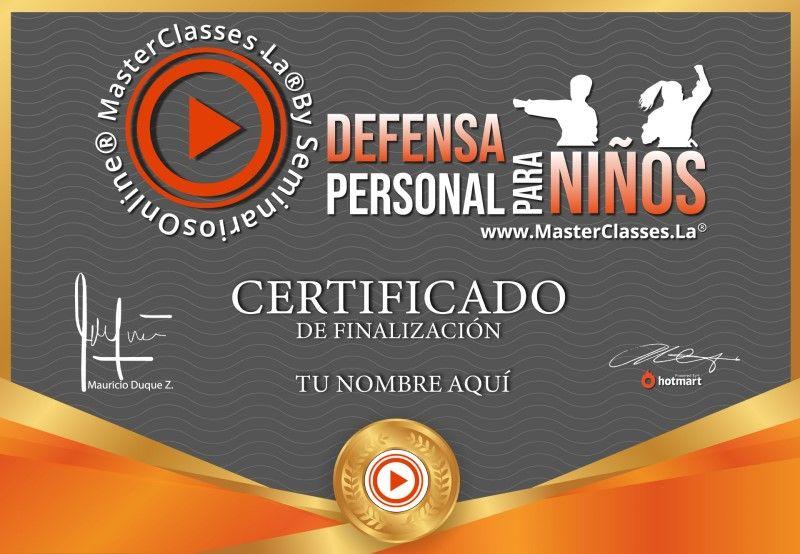 Certificado de Defensa Personal para Niños