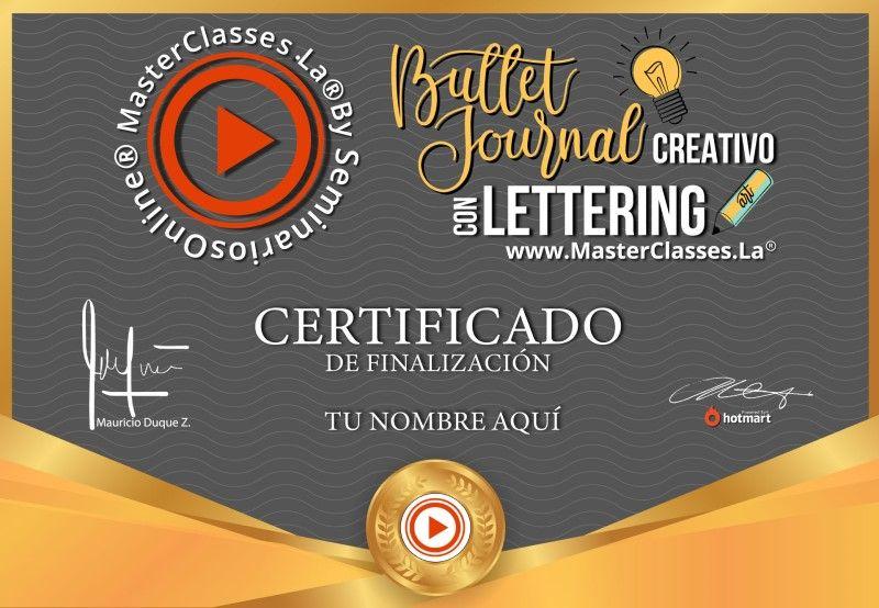 Certificado de Bullet Journal Creativo con Lettering