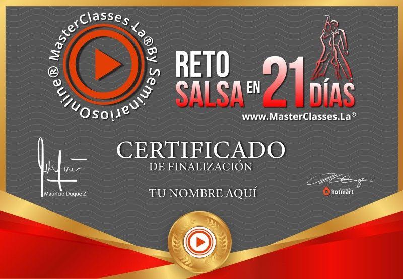 Certificado de Reto Salsa 21 Días