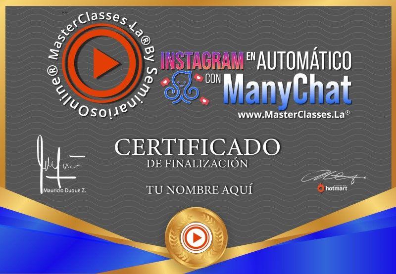 Certificado de Instagram en Automático con Manychat