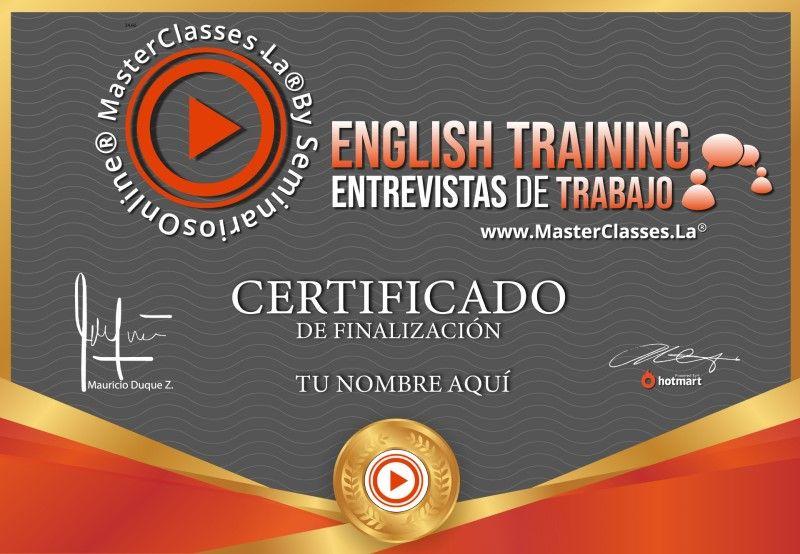 Certificado de English Training - Entrevistas de Trabajo