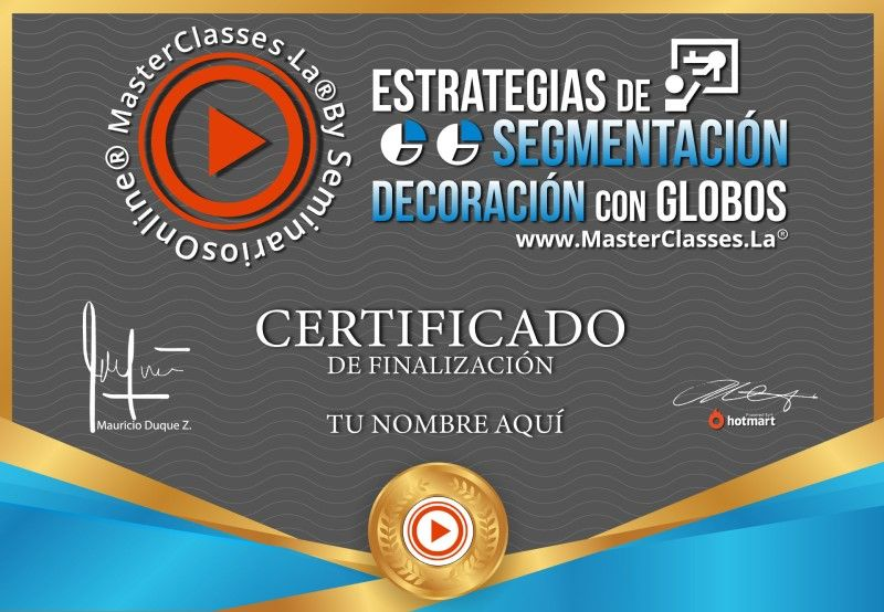 Certificado de Estrategias de Segmentación - Decoración con Globos