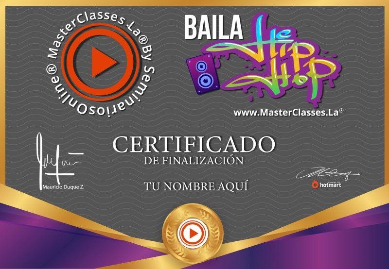 Certificado de Baila Hip Hop