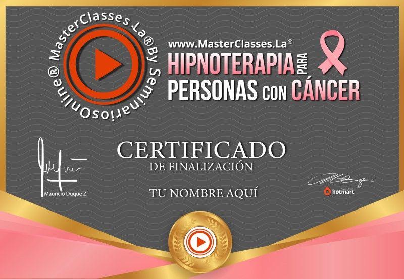 Certificado de Hipnoterapia para Personas con Cáncer