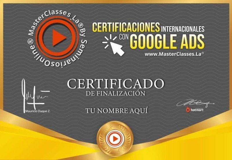Certificado de Certificaciones Internacionales Con Google Ads