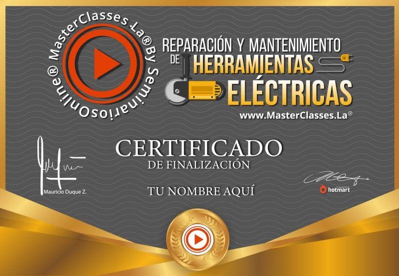 Certificado de Reparación y Mantenimiento de Herramientas Eléctricas